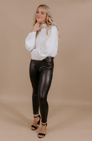BACK IN BLACK MORRISON VEGAN LEATHER SKINNY JEAN