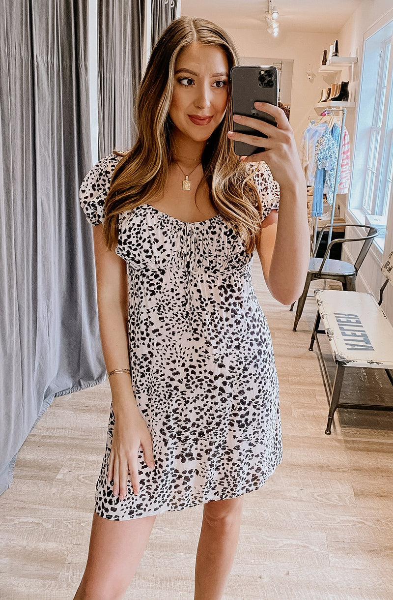 AWESTRUCK LEOPARD MINI DRESS