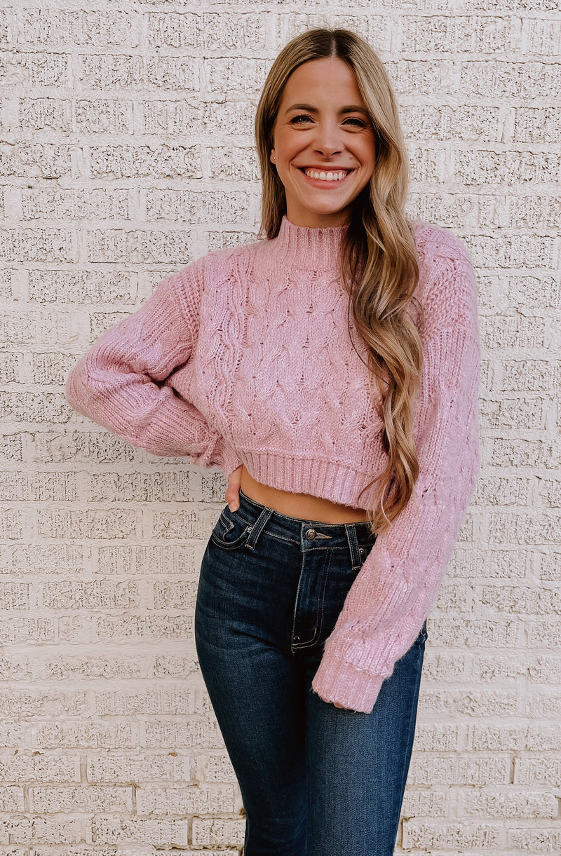WE'RE JUST ORCHID-ING AROUND CROPPED SWEATER