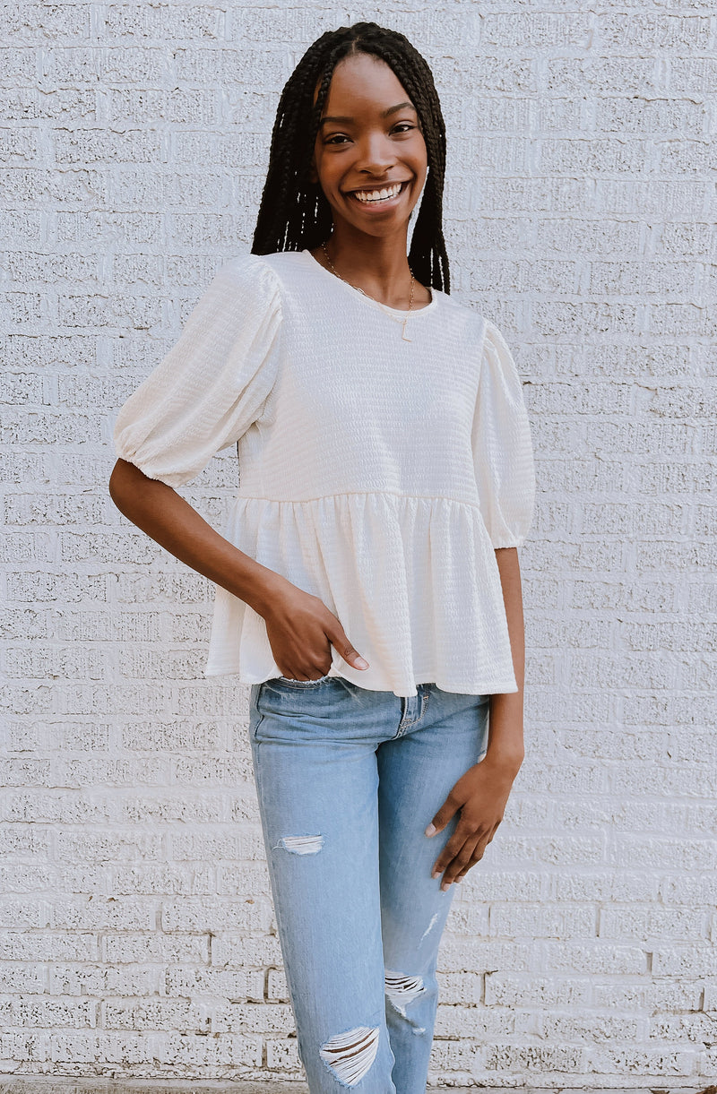 CHASE THE LIGHT RELAXED PEPLUM BLOUSE