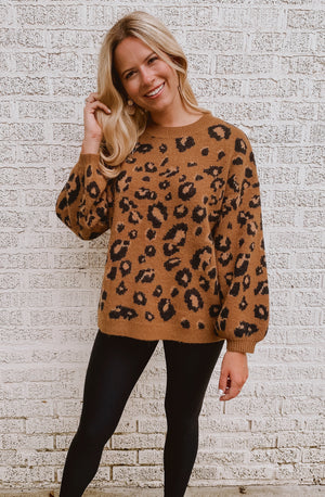 LEOPARD SPOTTED IN THE FALL SWEATER