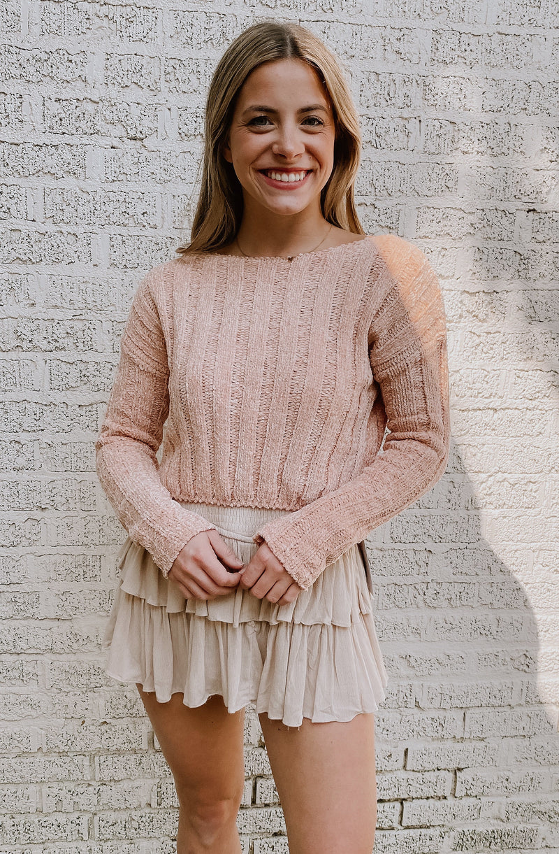 BLUSHING PEONIES CROPPED SWEATER