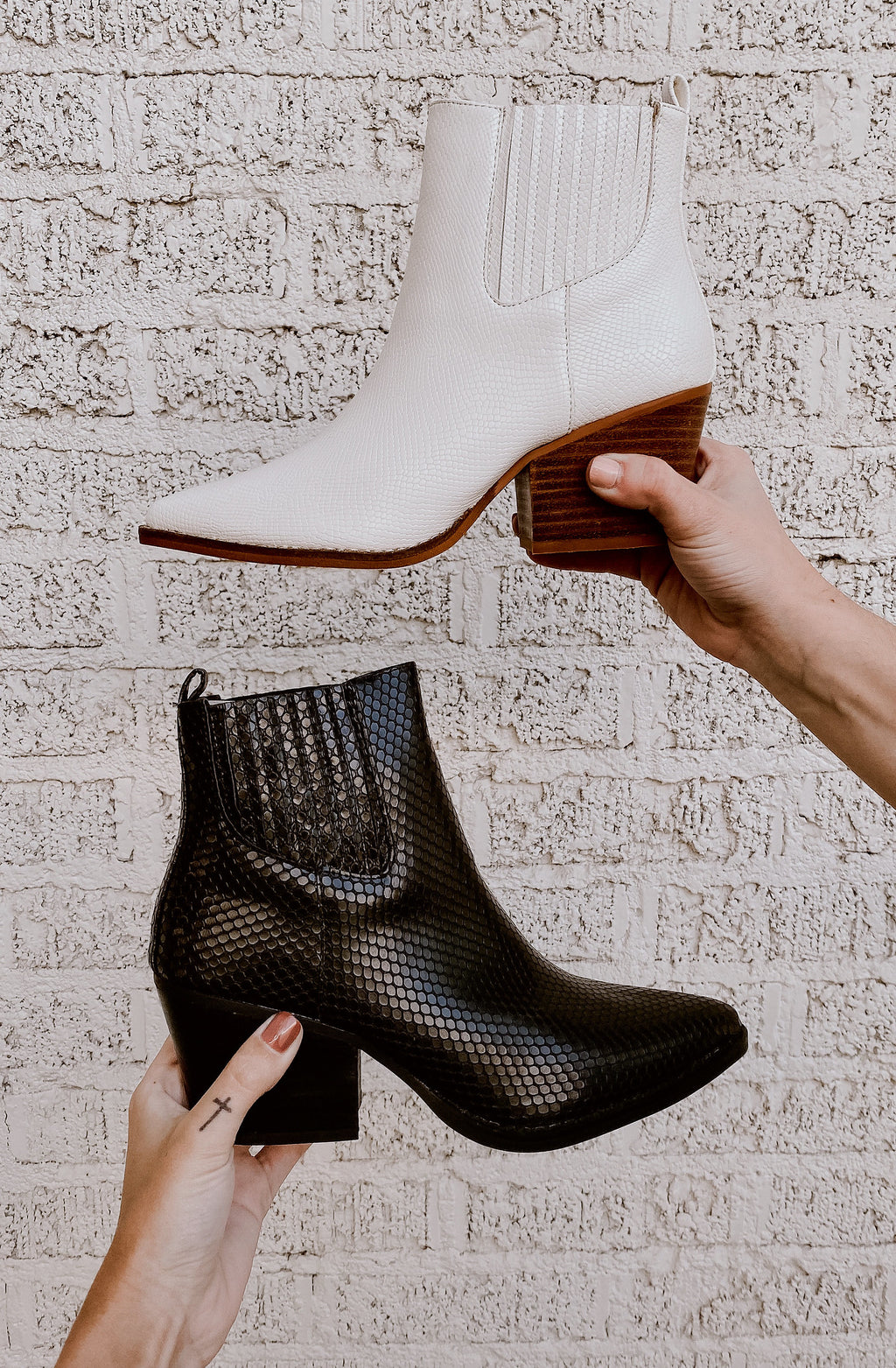 FAITH FAUX SNAKESKIN BOOTIES