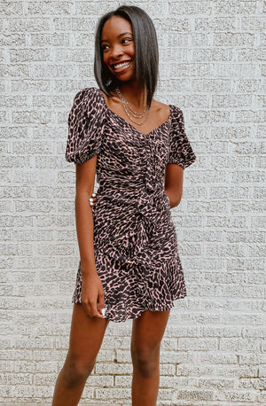 RUFF ANIMAL PRINTED DRESS