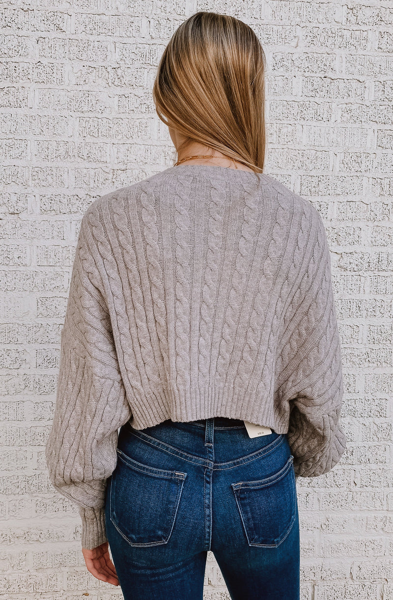 SKYE CABLE KNIT CROPPED SWEATER