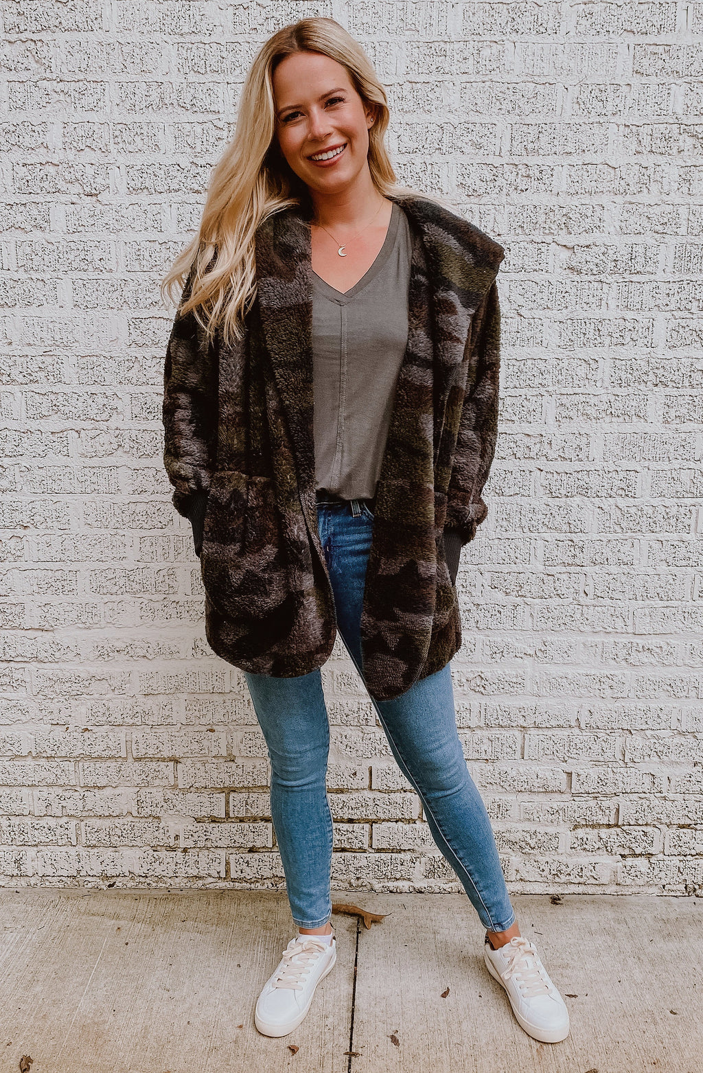 CAMO FAUX FUR JACKET