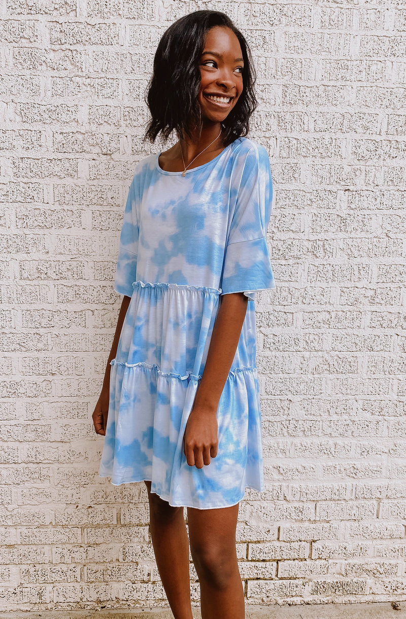 CLOUDS ON A RAINY DAY TIE DYE DRESS