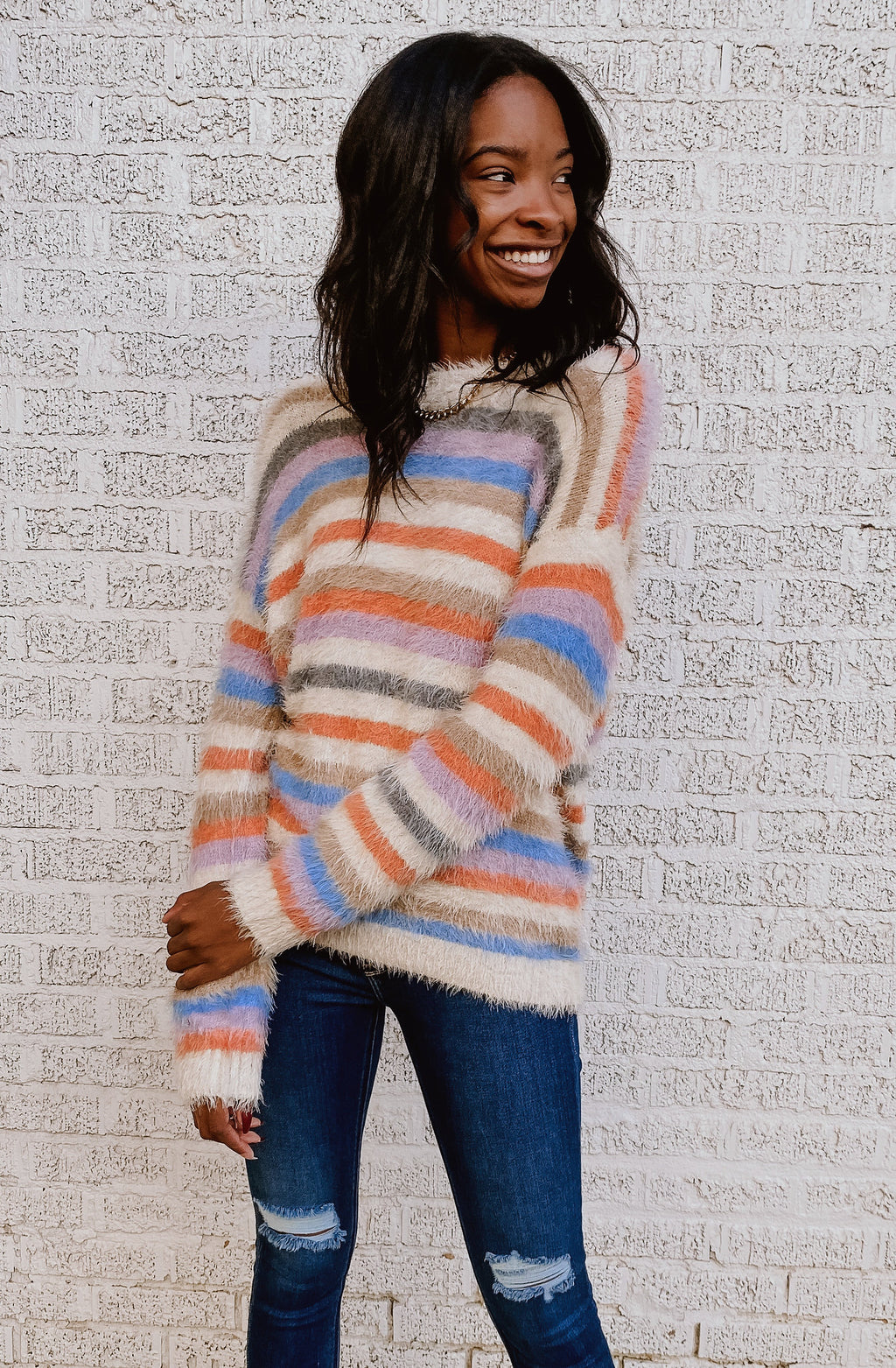 STRIPE MY FANCY FUZZY SWEATER