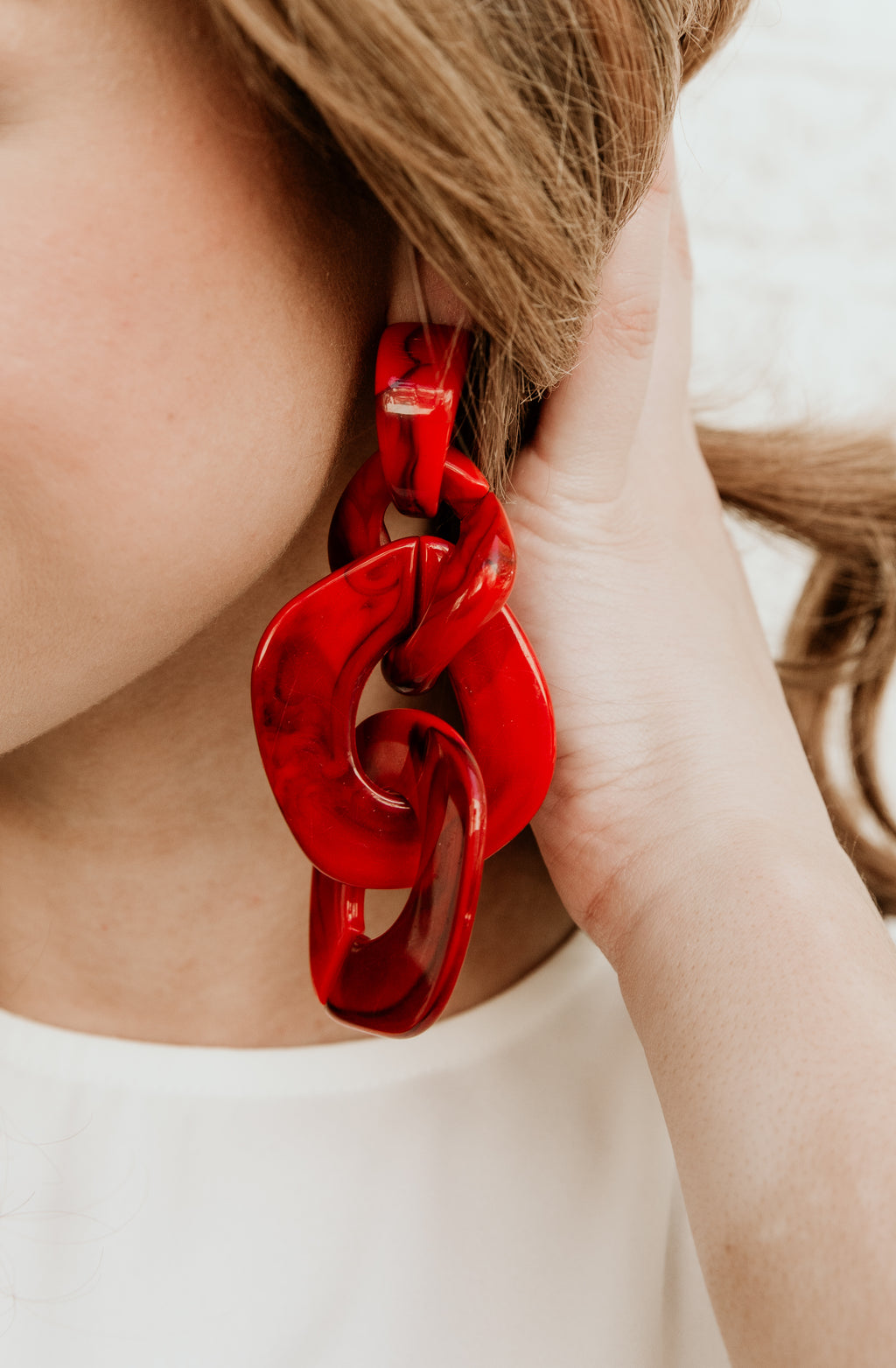 TRIPLE OR NOTHING EARRINGS IN RED