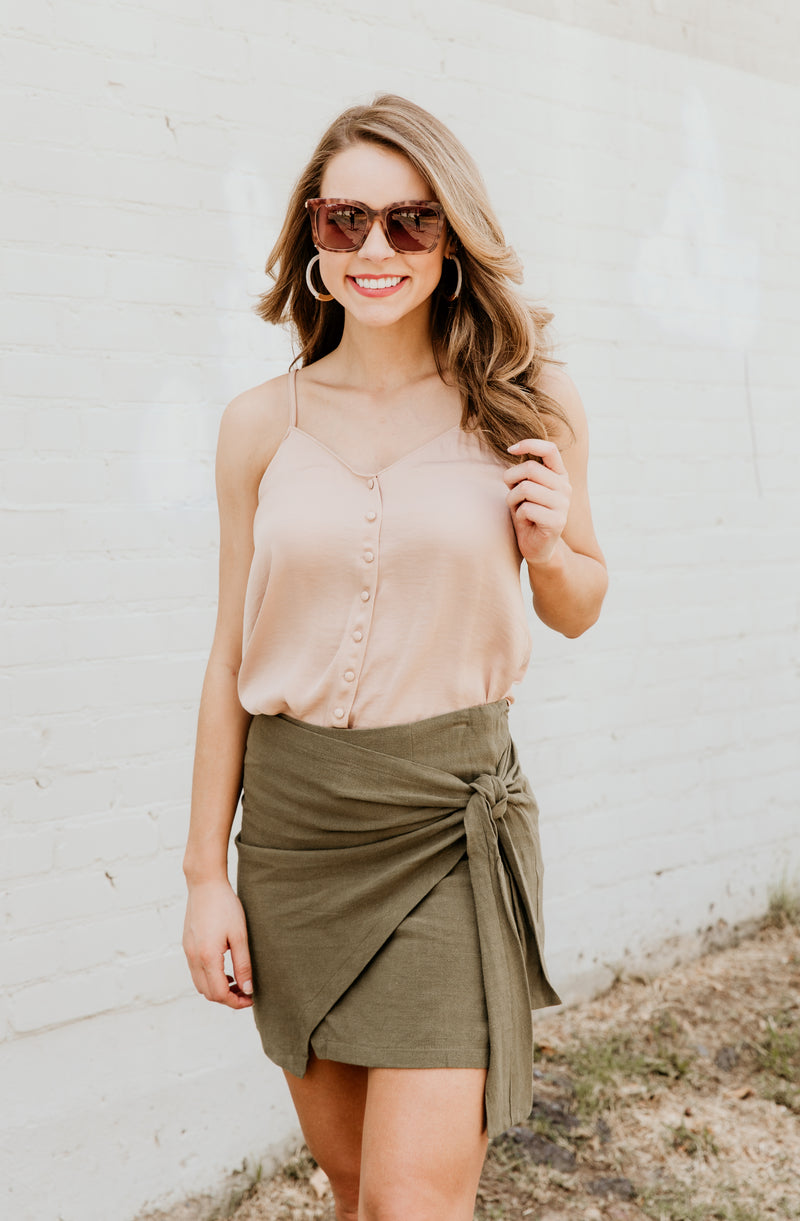 GRECIAN GIRL TIED UP MINI SKIRT OLIVE