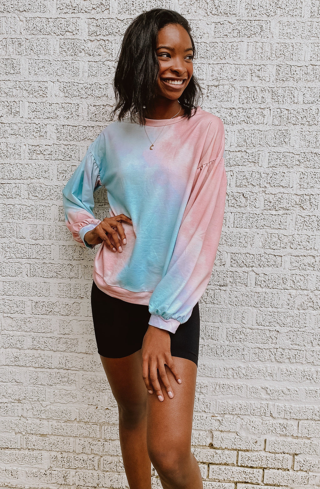 SHY SMILES TIE DYED PULLOVER TOPS