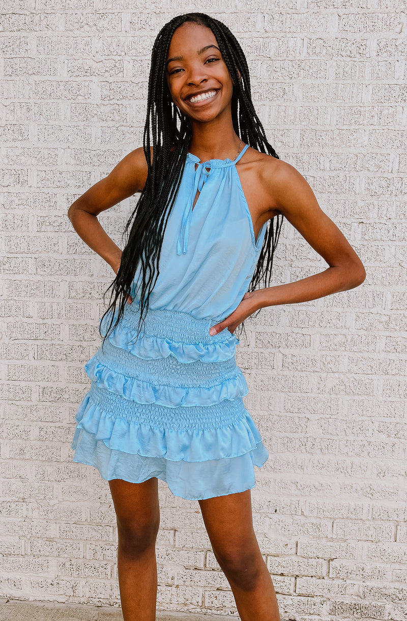 SUMMER BREEZE RUFFLE HALTER DRESS