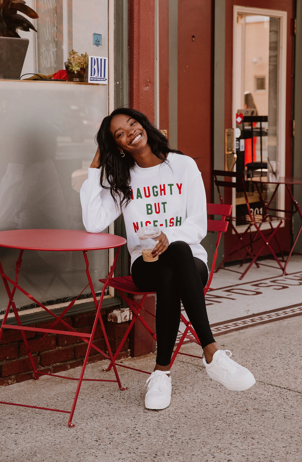 NAUGHTY BUT NICE-ISH GRAPHIC SWEATSHIRT