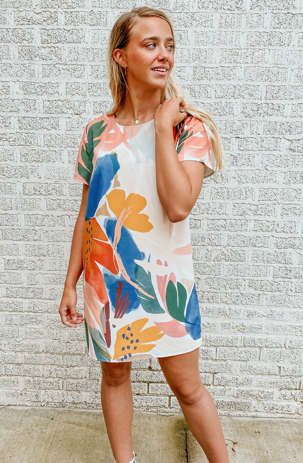 MINK PINK ABSTRACT FOLIAGE TEE DRESS