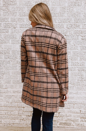 I'LL CHECK ON YOU LONG CHECKED BLAZER COAT
