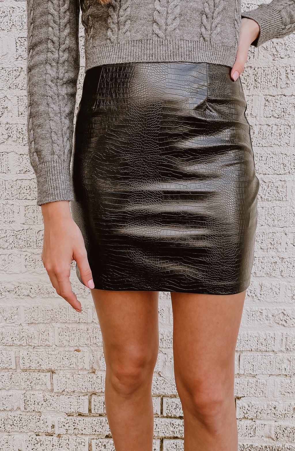 CROC AROUND THE CLOCK FAUX LEATHER SKIRT