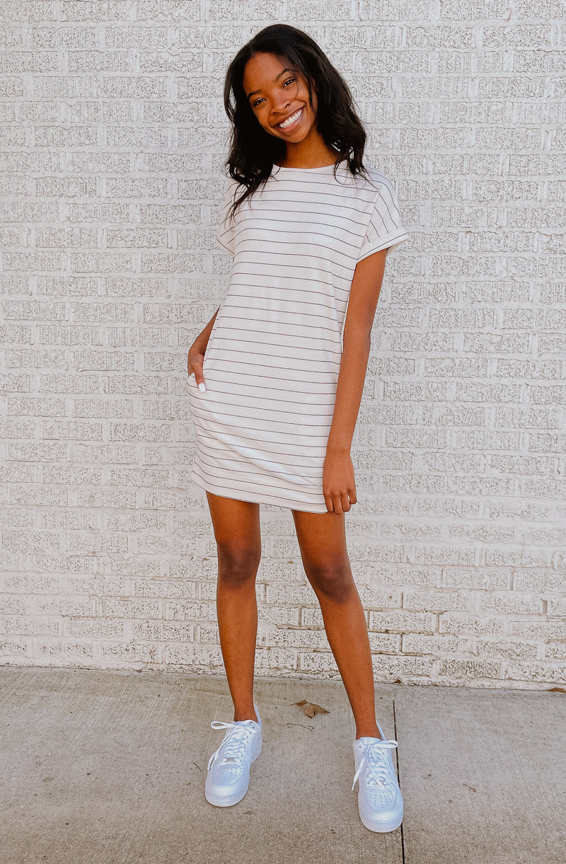 ROLLIN' ON THE RIVER STRIPED T-SHIRT DRESS