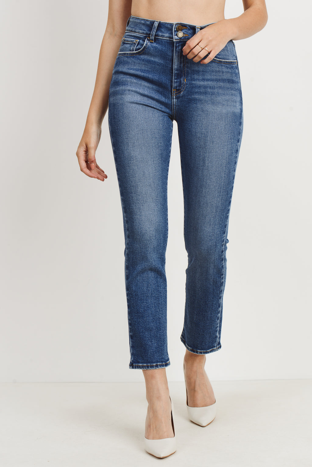 DOUBLE BUTTON STRAIGHT LEG DENIM