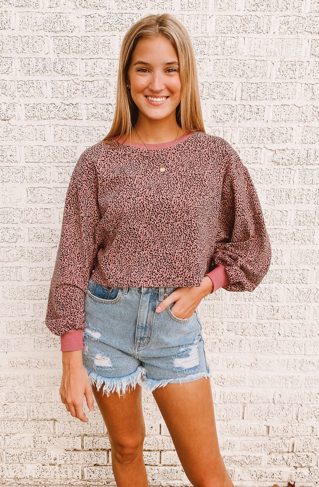 CROPPED PINK LEOPARD SWEATER