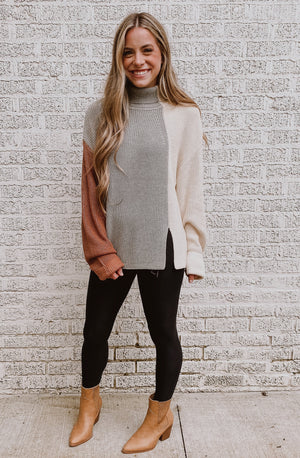 LOUNGE AROUND THE COLOR BLOCK SWEATER