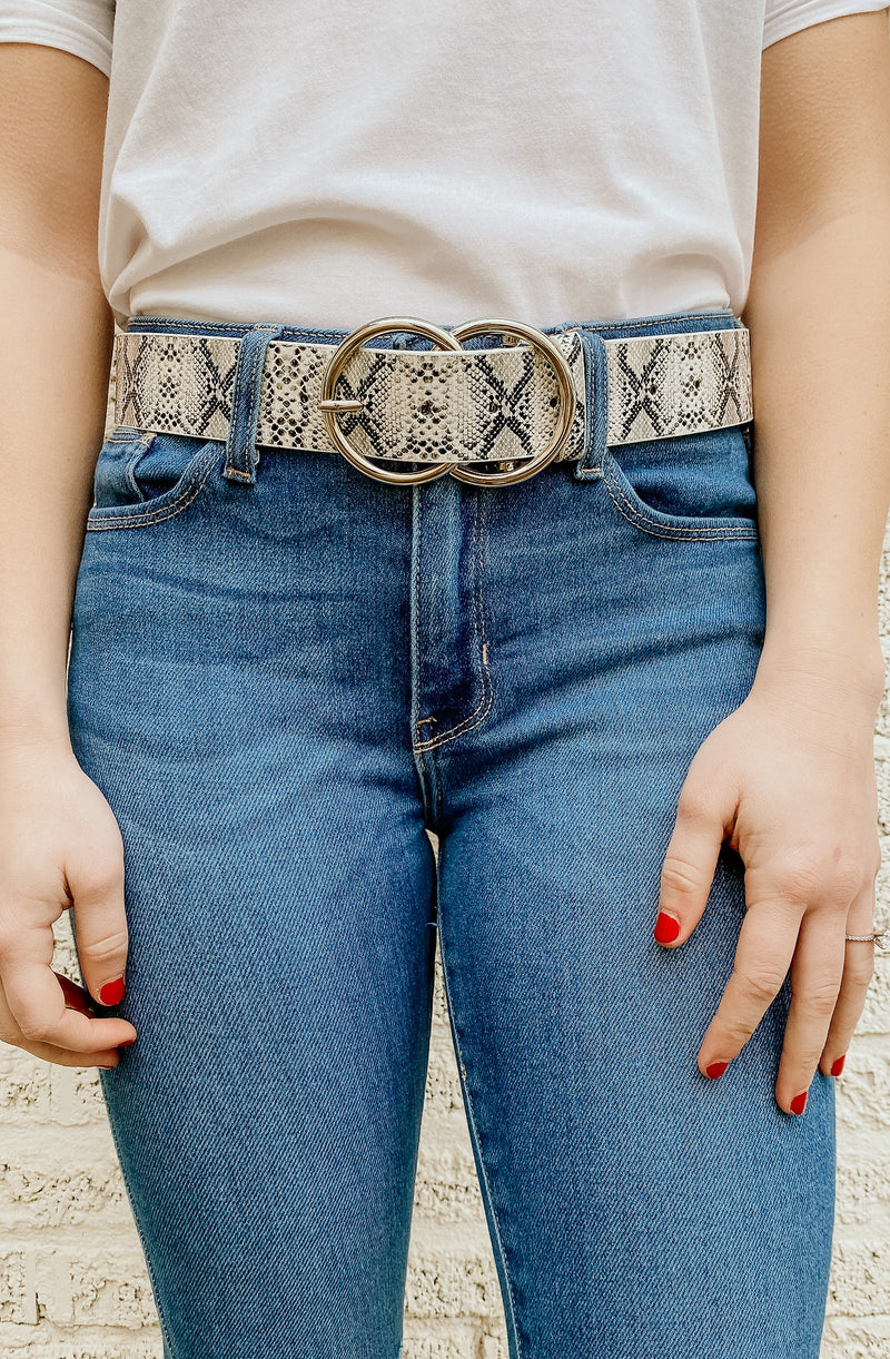 VERONICA DOUBLE CIRCLE BELT (SNAKE AND WHITE)