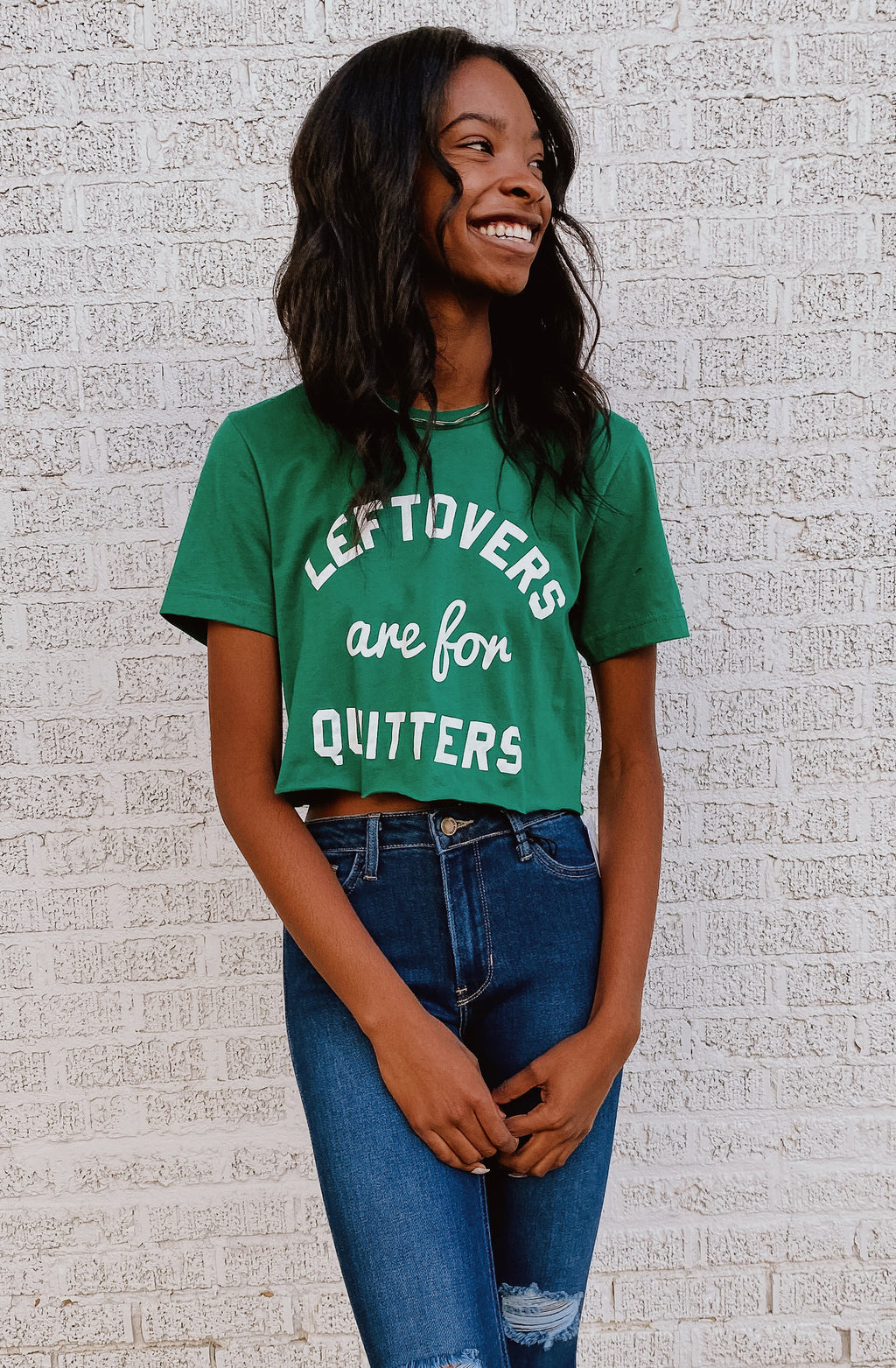 LEFTOVERS ARE FOR QUITTERS GRAPHIC CROPPED TEE