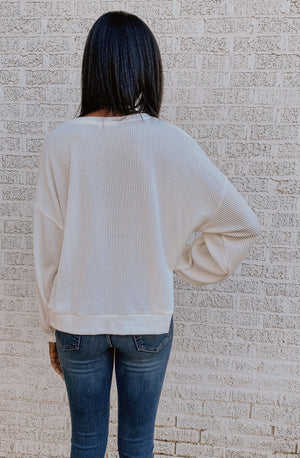 HEART & RIBS RIBBED SWEATSHIRT
