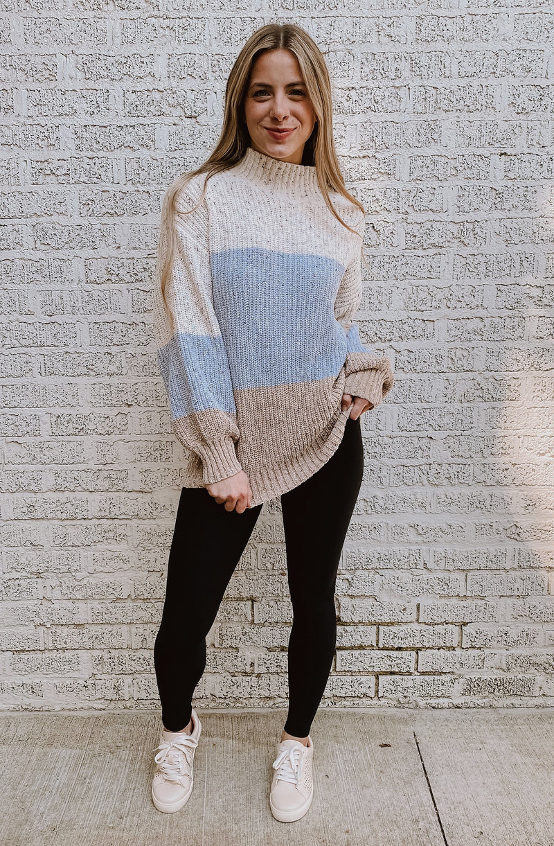 COCONUT CREAM COLOR BLOCKED SWEATER