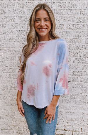 TIE DYED CUFFED SLEEVE SHIRT