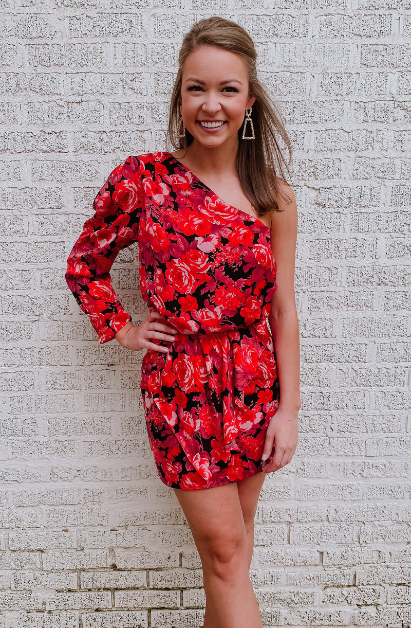 BUNCH-O-ROSES ONE SHOULDER DRESS