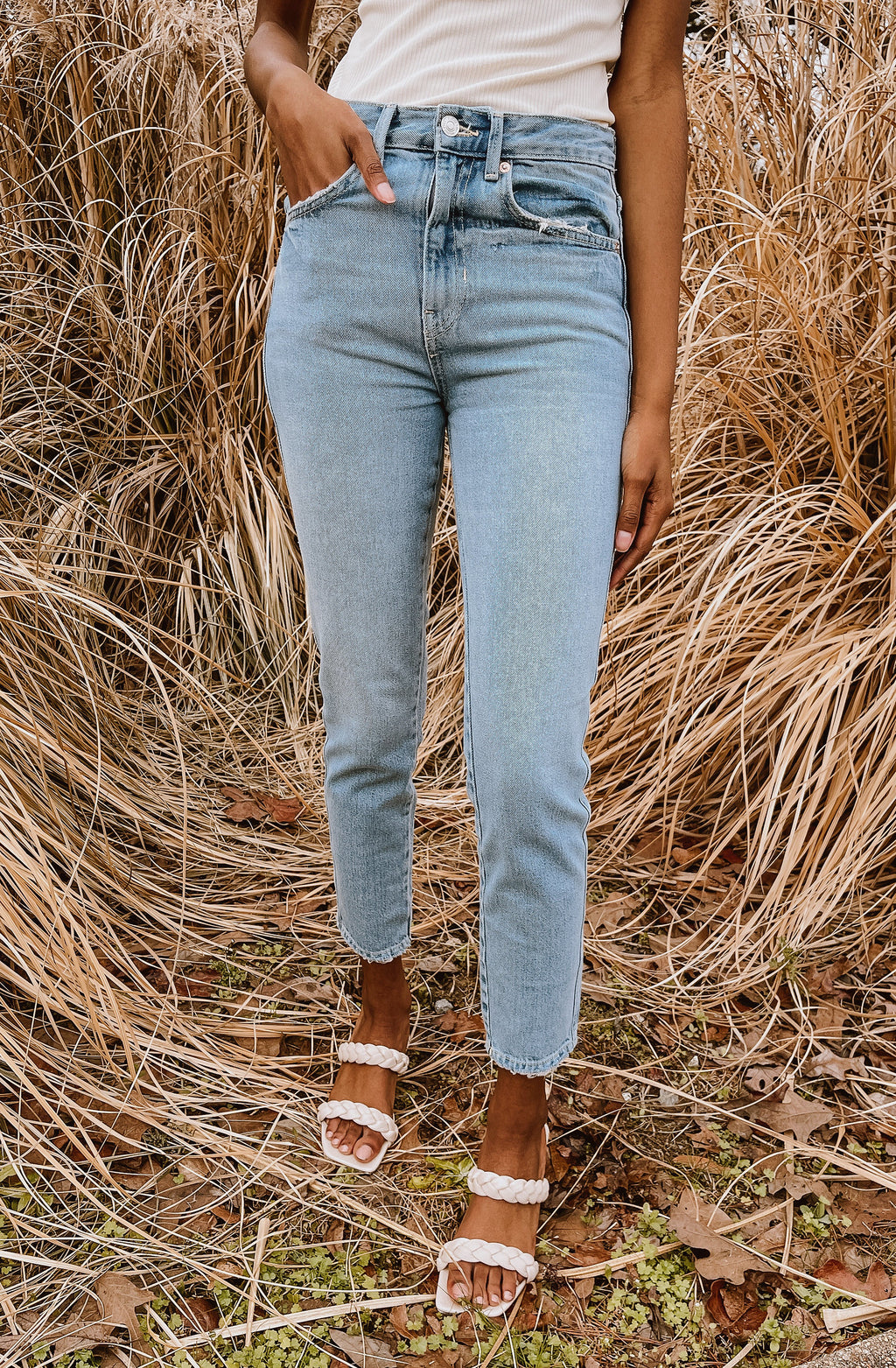 FREE PEOPLE STOVEPIPE JEAN - MID INDIGO