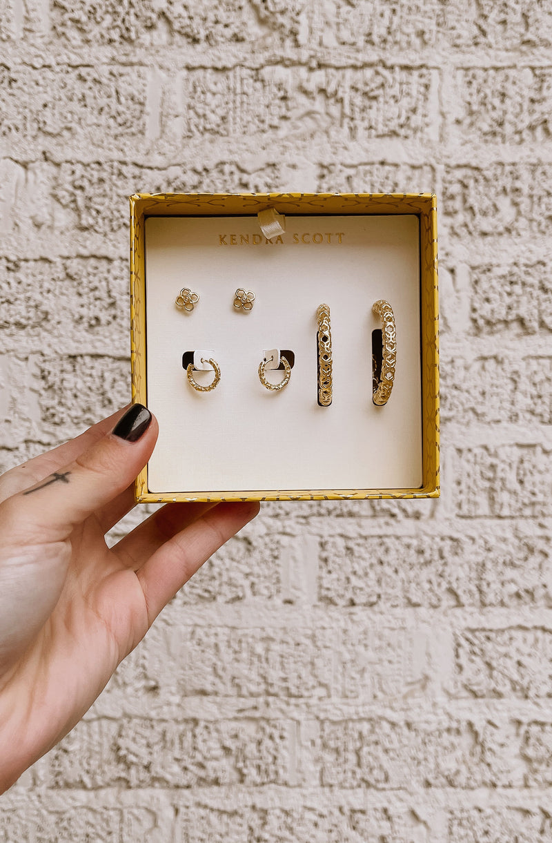 KENDRA SCOTT MAGGIE EARRINGS GIFT SET 14K GOLD PLATED
