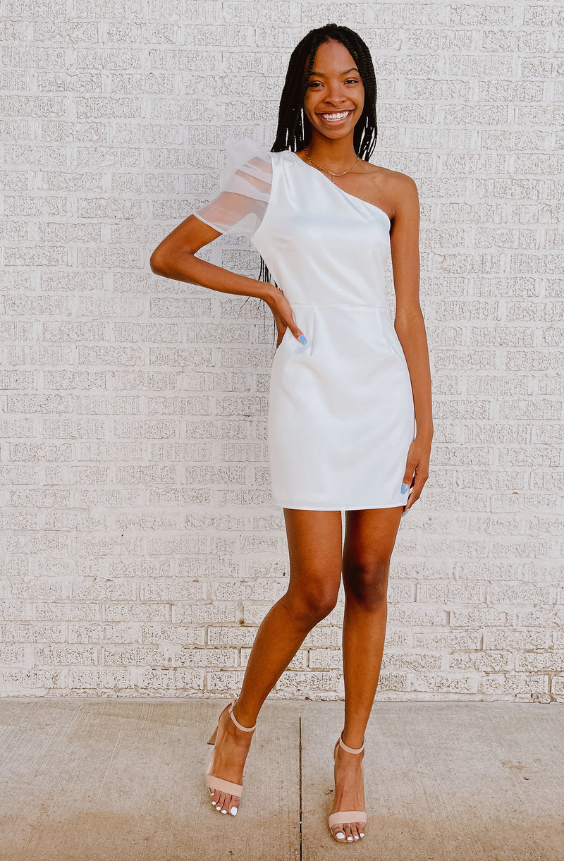WHITE ON TRACK MINI DRESS