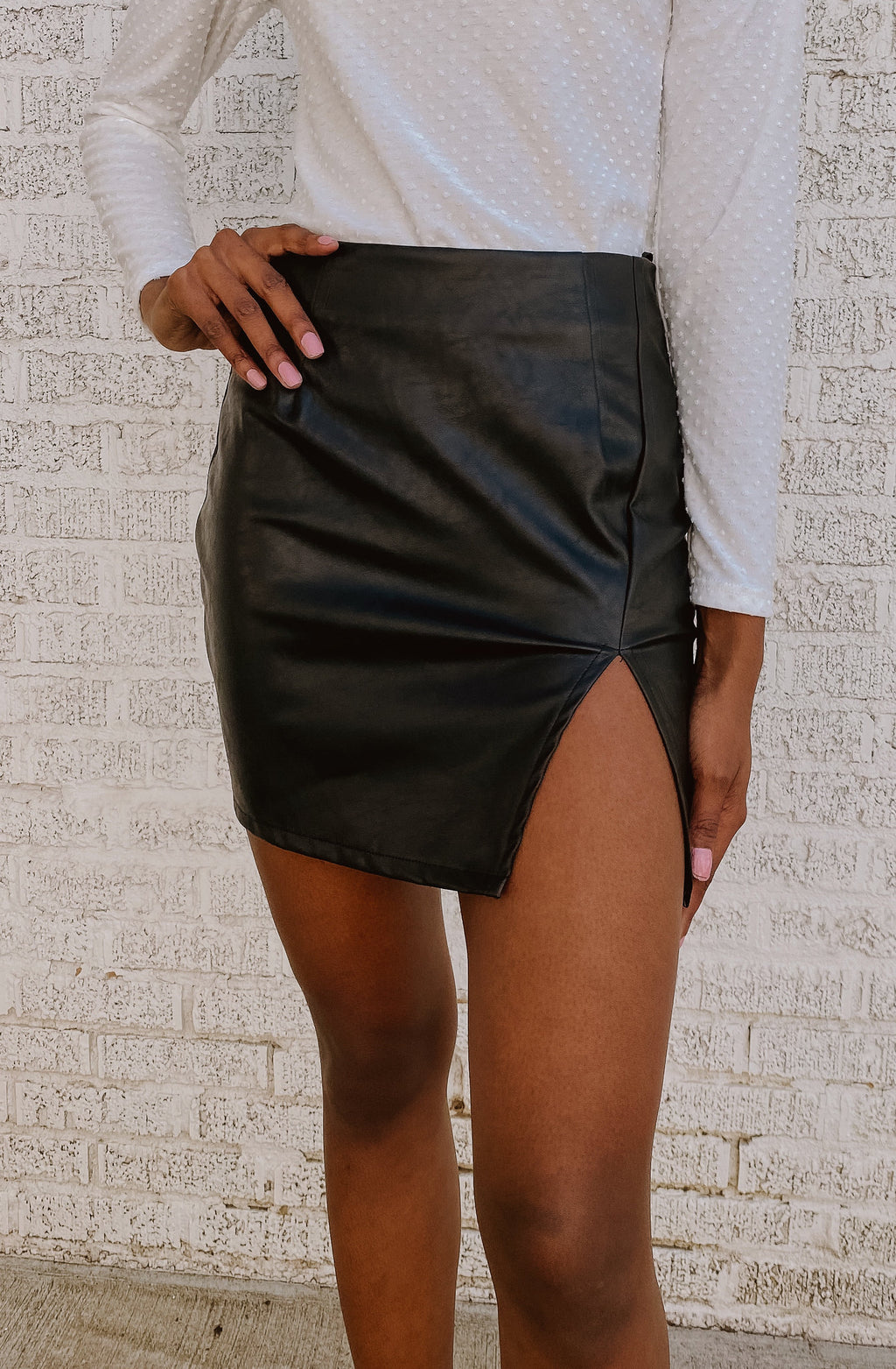 SLIT'S NOW OR NEVER FAUX LEATHER SKIRT