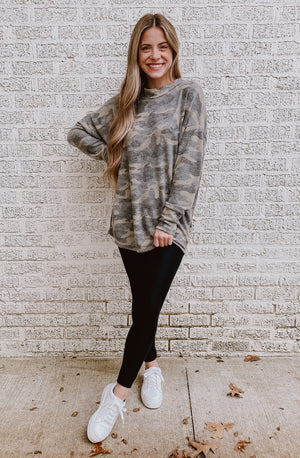 CAMO GET IT BRUSHED KNIT TOP