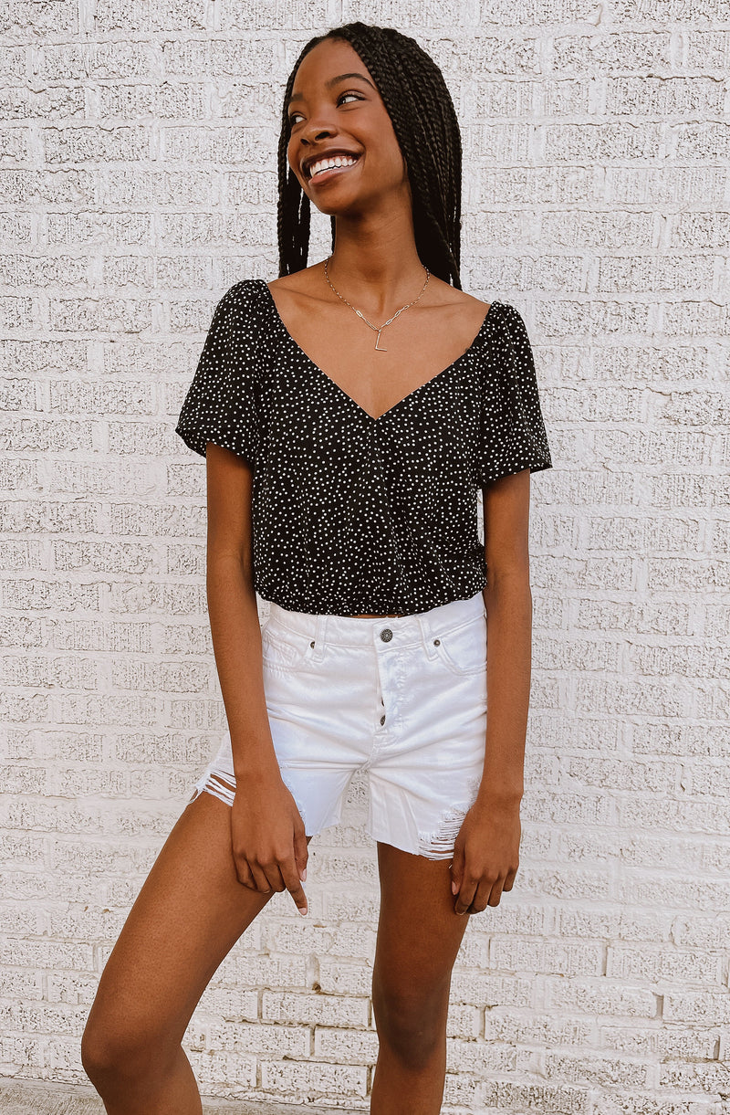 DOT YOUR I'S & CROSS YOUR T'S CROPPED TOP