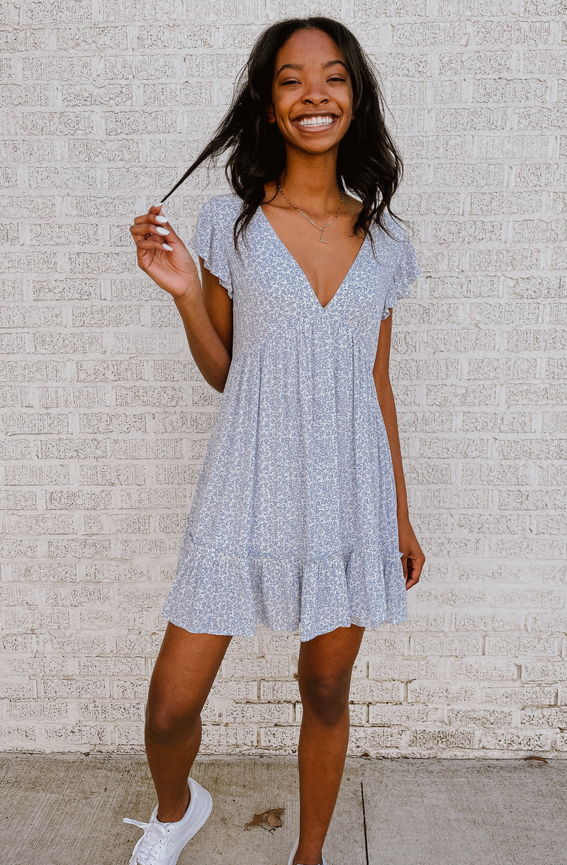 BLUE BY THE BAYOU FLORAL DETAIL ROMPER