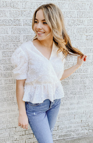WHITE THIS DOWN BLOUSE