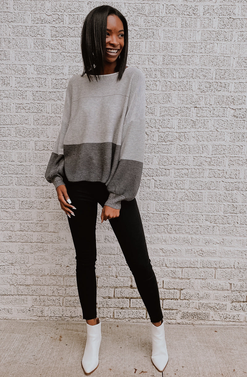 CHARCOAL OMBRE KNIT SWEATER