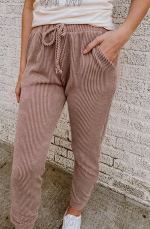 HEART IN A CAGE RIBBED JOGGERS