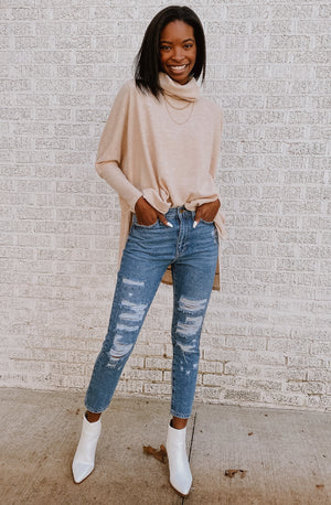 GIRL TALK DISTRESSED GIRLFRIEND DENIM JEANS