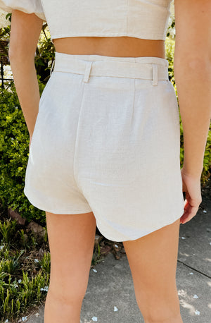 ALL NATURAL BELTED SHORTS