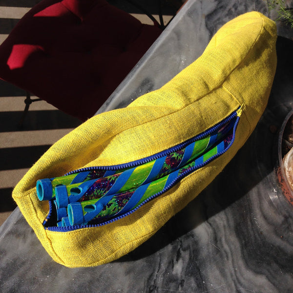 6pc Yellow Tie Dye in Custom Lined Burlap Bag