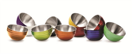 Round Colored Double-Wall Insulated Serving Bowls