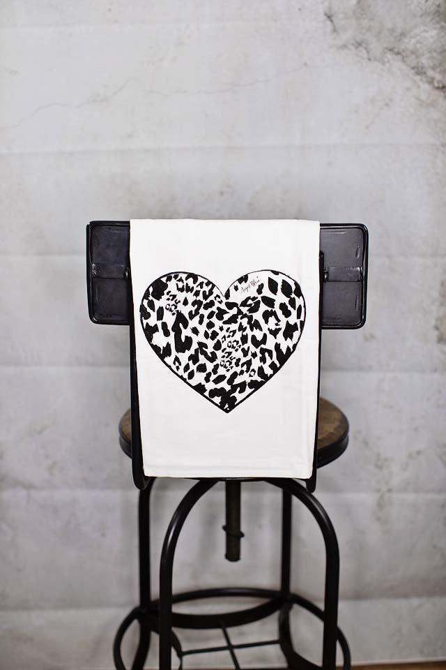 Cheetah Heart Tea Towel