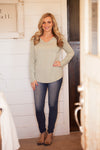 The frosted evergreen Basic Tee v-neck Long Sleeve