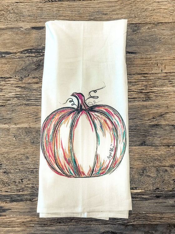 Tea Towel-Painted Pumpkin