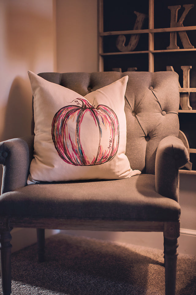 Painted Pumpkin Pillow Cover