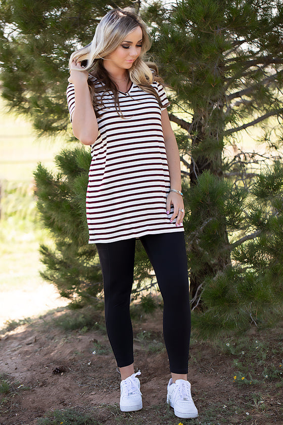 Wine/Ivory Stripe Tunic