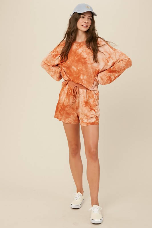 Tie Dyed Jersey Long Sleeves Top and Short Sets Rust